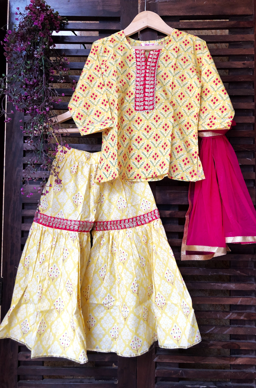 kidswear - yellow buti kurti with yellow sharara & dupatta