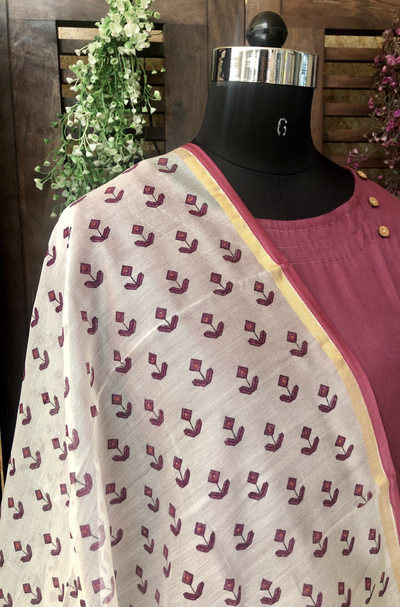 handwoven chanderi dupatta - pearl white & orchid bloom