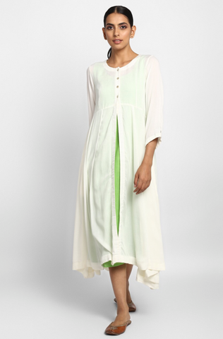 jacket  + shift dress - porcelain white & sea green