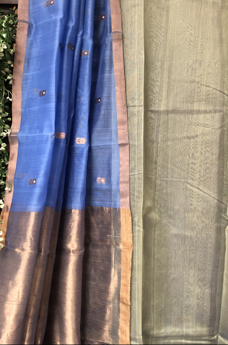 handwoven chanderi saree - copper drops by the lake