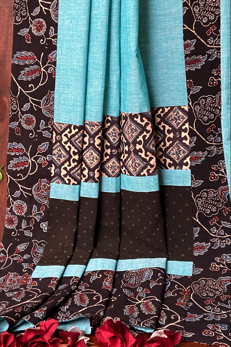 patchwork applique saree - aqua sky & botanical mist