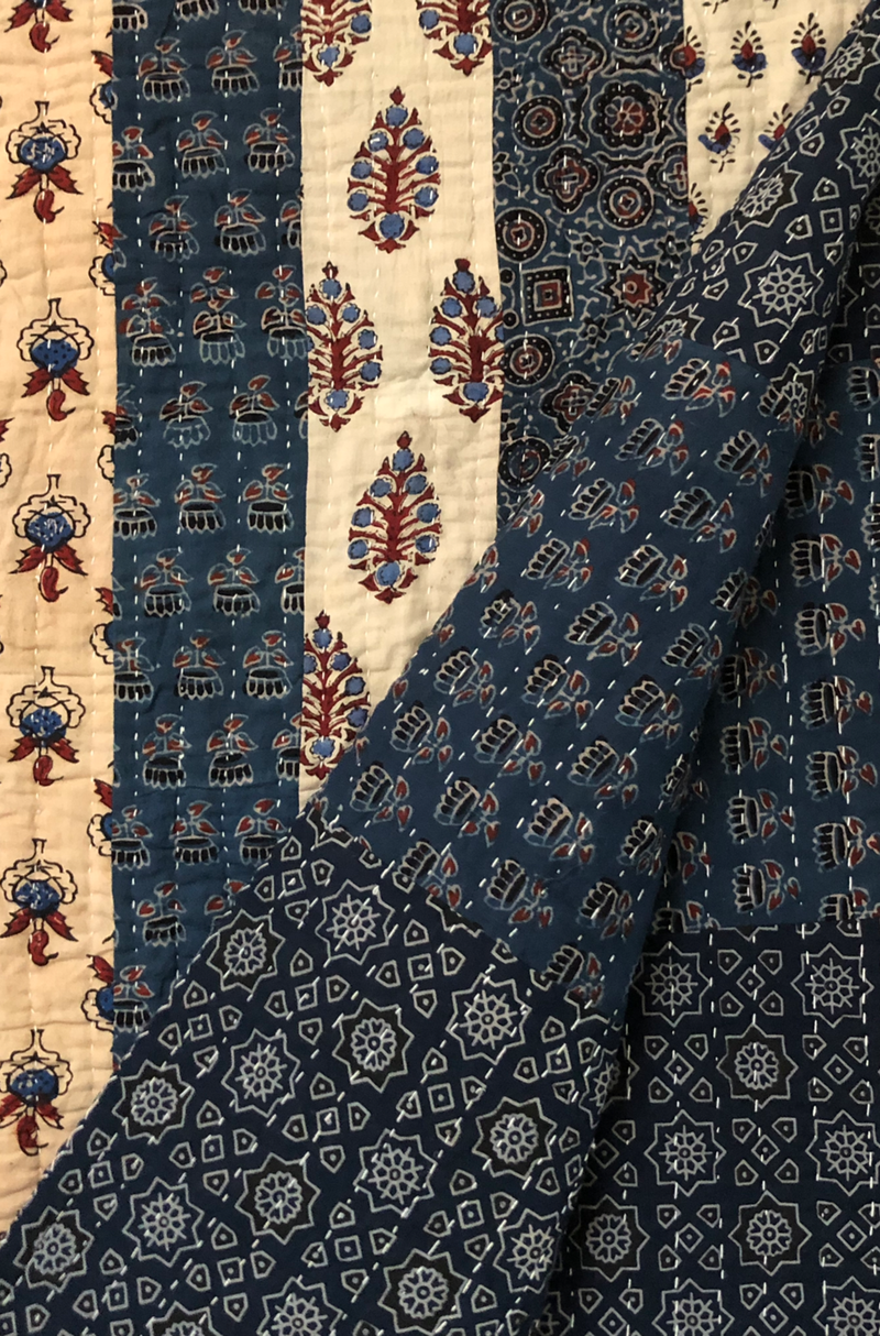 handcrafted double quilt with filler  - indigo kamal & buttis