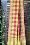 chettinad cotton saree - lime green & rani pink checks