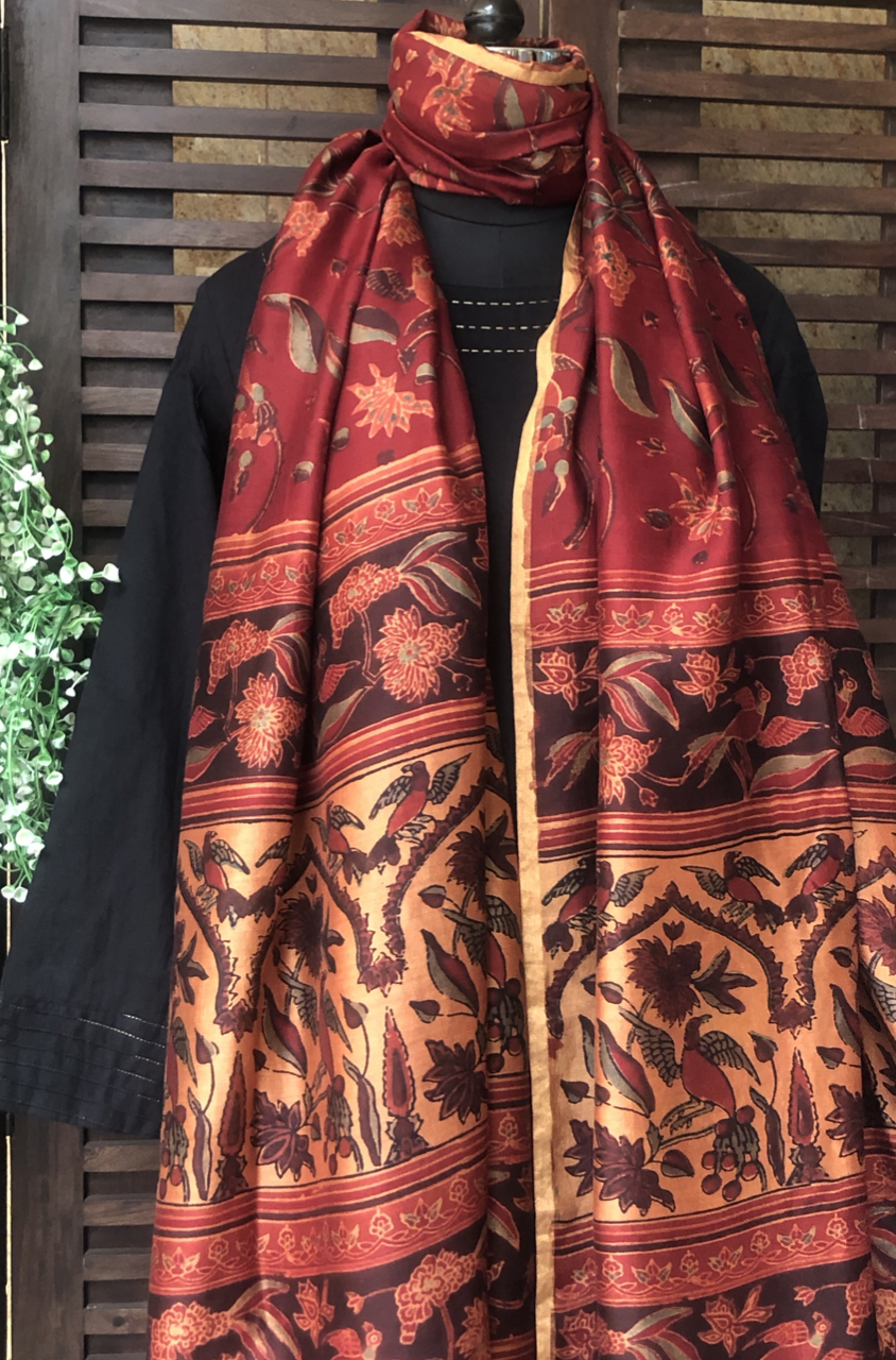 abstract ajrakh dupatta - marsala & wildflowers