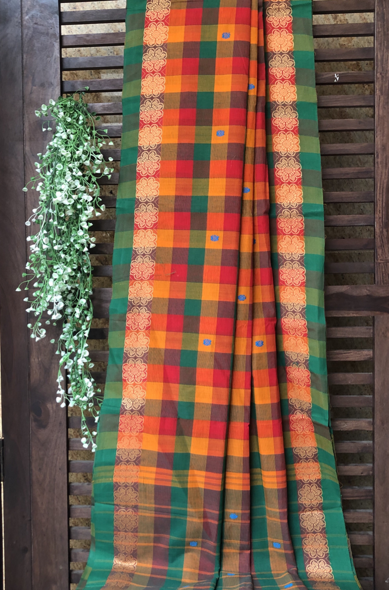 chettinad cotton saree - multi checks & mandala border