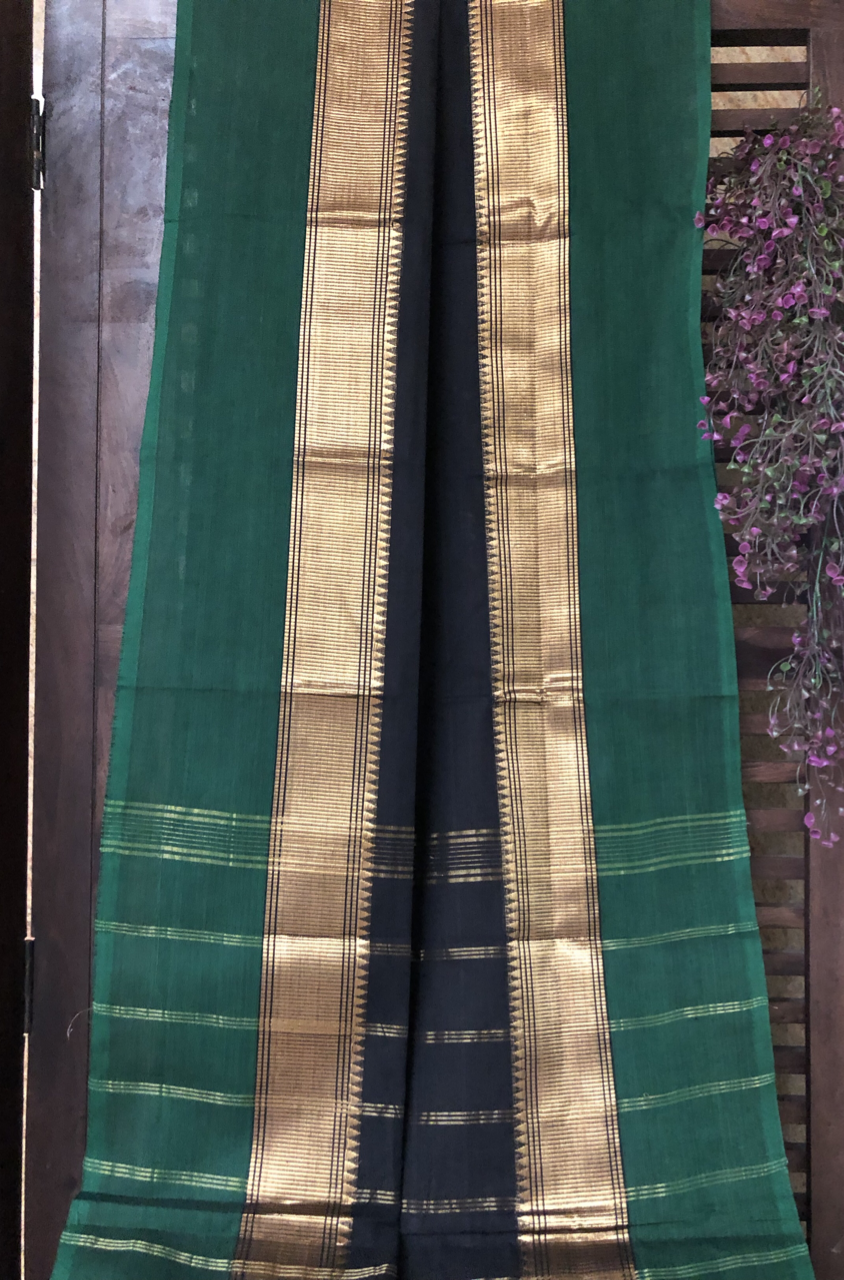 chettinad cotton saree - onyx & green gold dual border