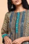 patchwork kurta with pockets - coffee & tulip garden