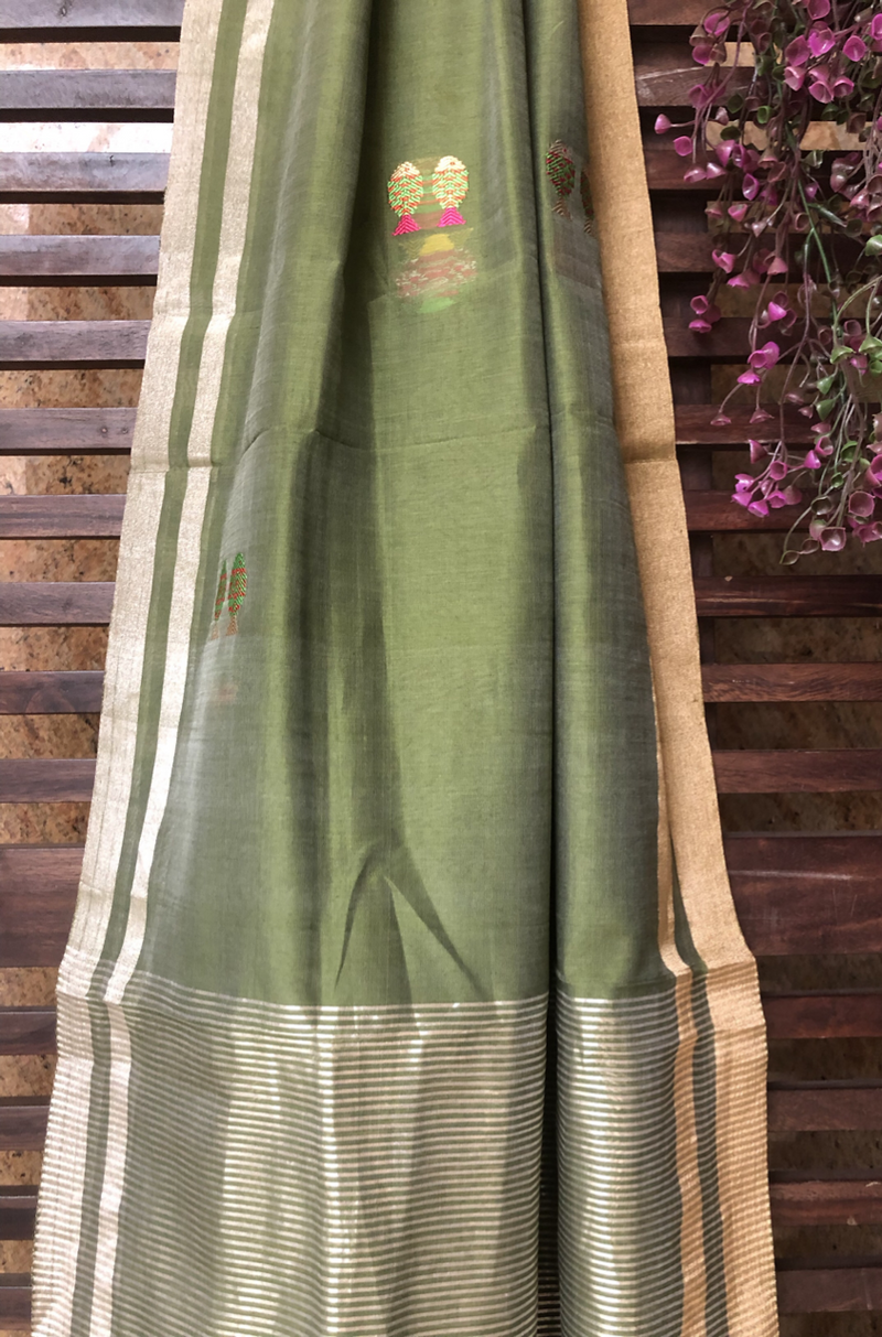 handwoven chanderi dupatta - dual green & fishes