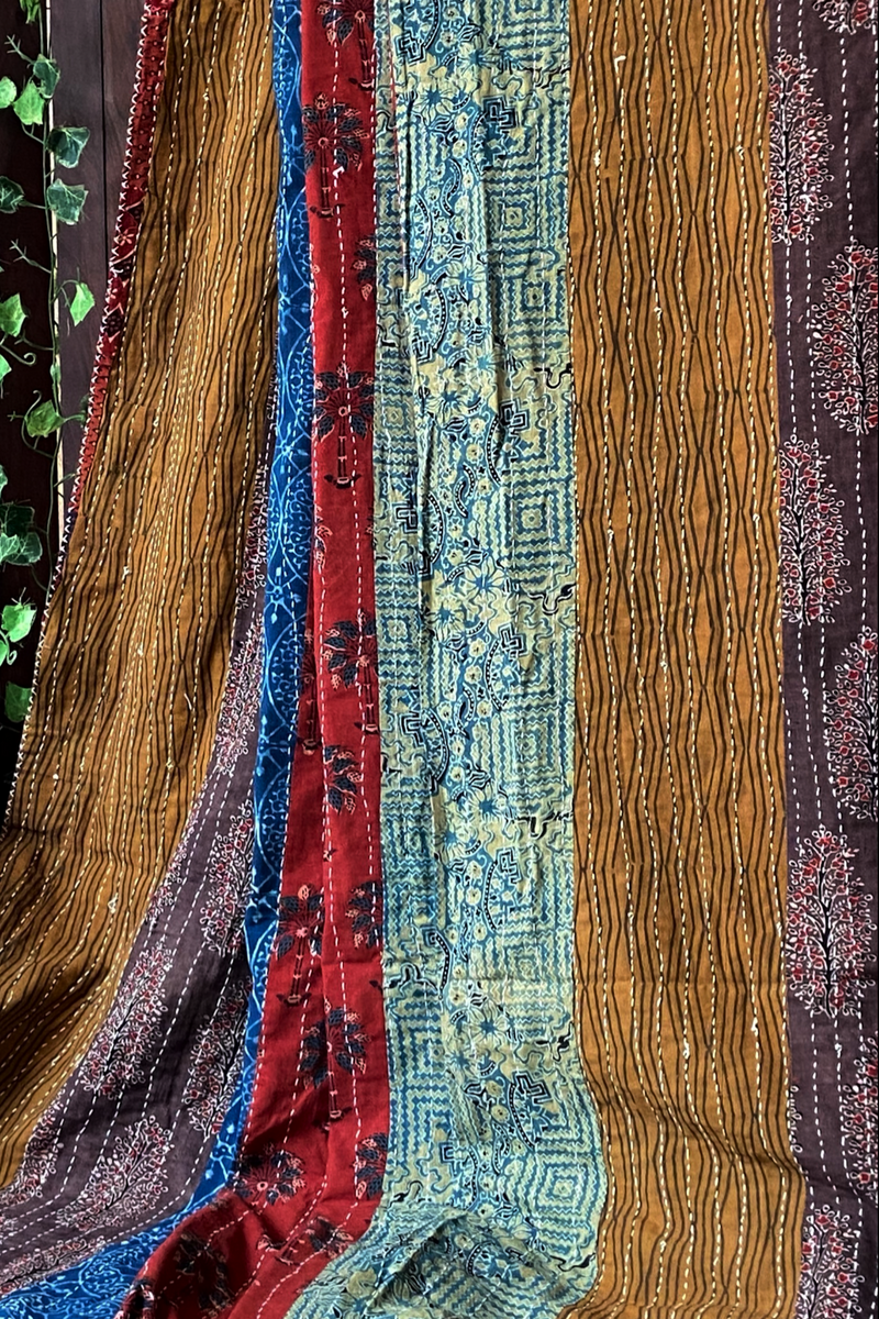 handcrafted double quilt (non filler) - vintage tones & indigo rhubarb