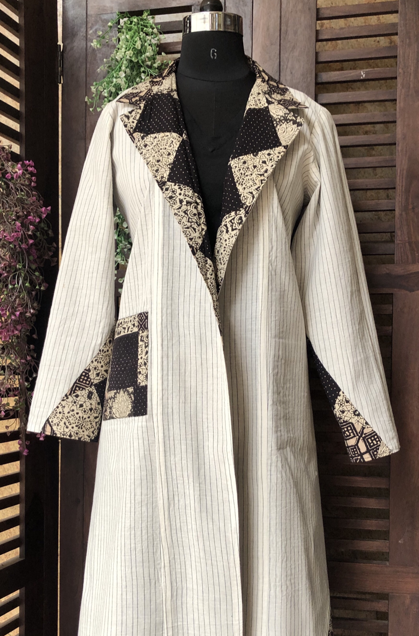 reversible patchwork blazer jacket - grey & porcelain lines