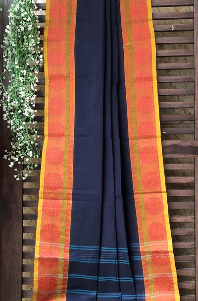 chettinad cotton saree - Oxford blue & daisy