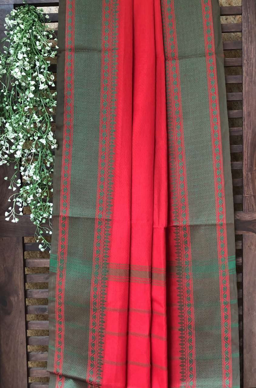 chettinad cotton saree - crimson red & green border
