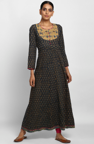 Green Ajrakh Anarkali with Yellow Pintuck Yoke