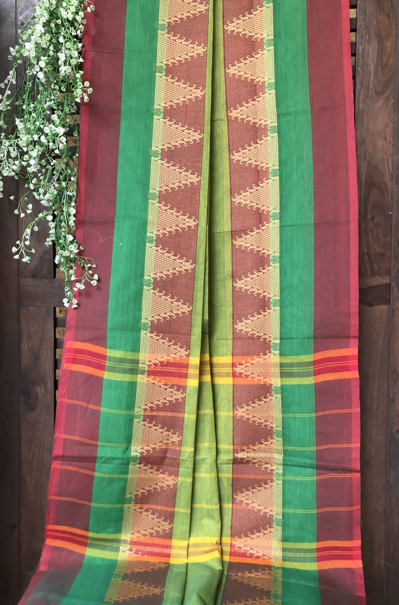 chettinad cotton saree - leaf green & temple border
