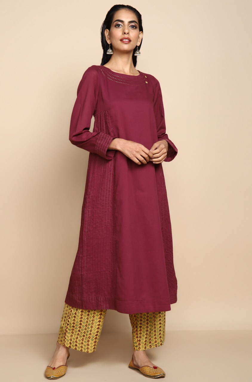 purple wine mul kurta with lining with golden embroidery at the neck and mustard ajrakh fish print straight pants