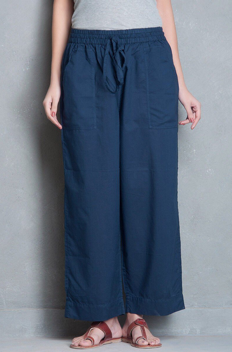 ELASTICATED CAMBRIC PANTS - INDIGO
