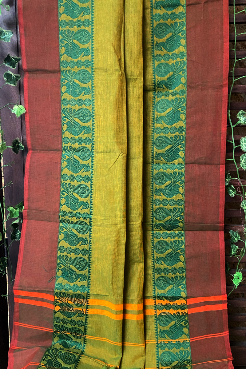 chettinad cotton saree - seaweed & peacock dance