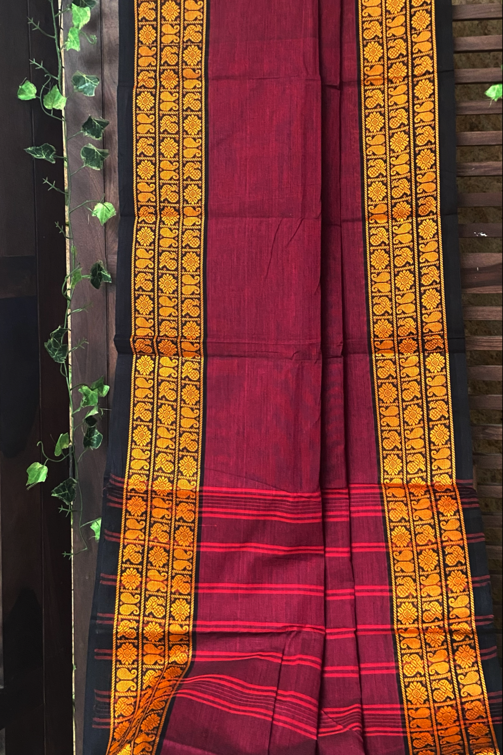 chettinad cotton saree - marsala & gold border