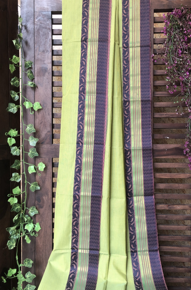chettinad cotton saree - green stripes & purple border