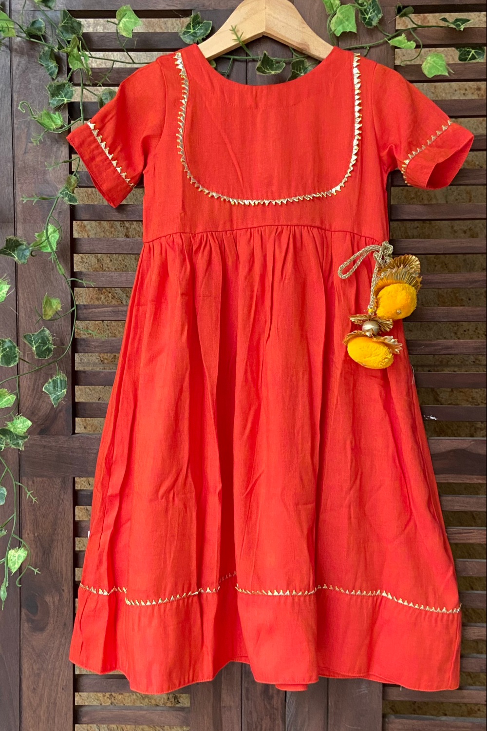 kidswear - orange two tone gota dress
