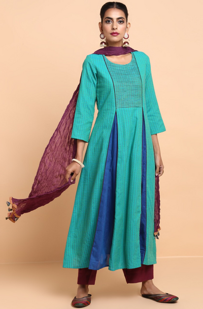 box pleat anarkali with pintuck yoke - sea green & dash of blue