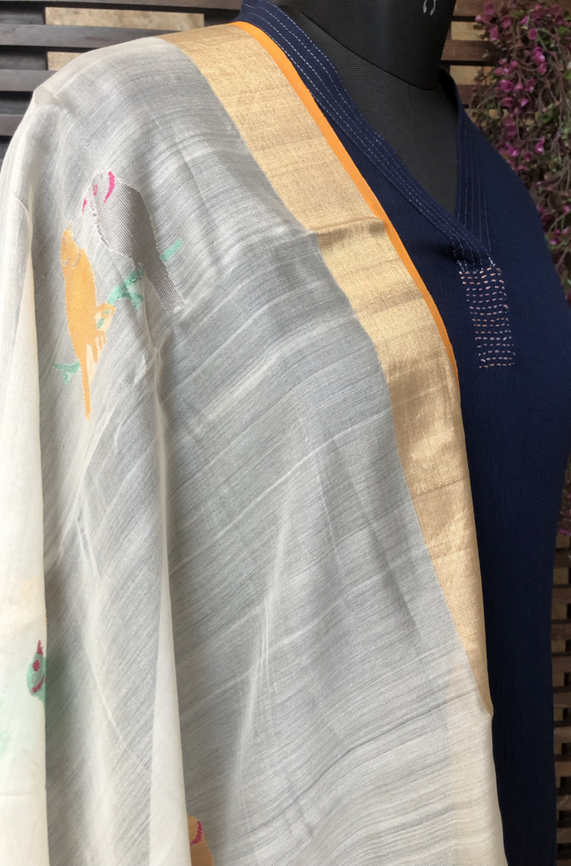 handwoven chanderi dupatta - pearl & multicolored sparrows