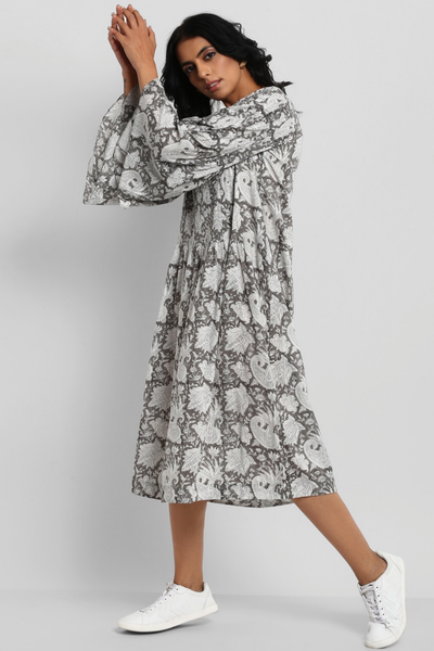 funnel sleeve dress - grey skies & roses