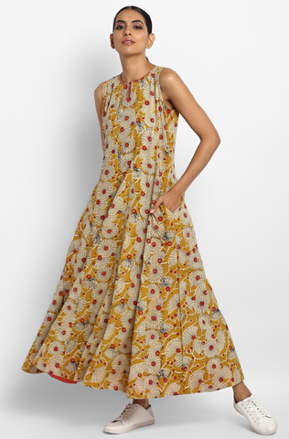 sleeveless maxi dress - yellow dandelion & summer dreams