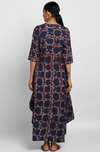 Indigo Bagru Hand block printed long dress in Modal with cowls