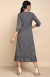 Grey mangalgiri cotton knee length dress, round neck with black stripes with ruffle bottom panel and patch square pockets with button detail