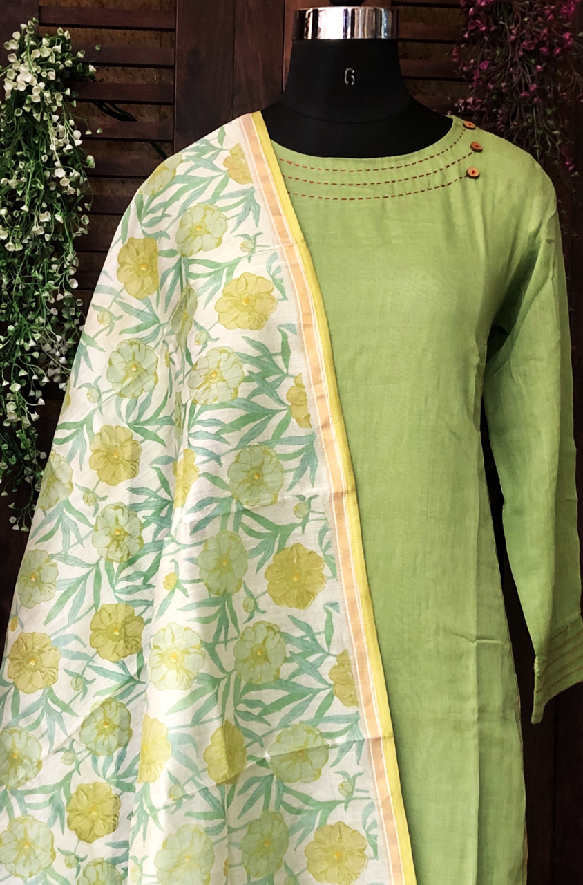 handwoven chanderi dupatta - chrysanthemum & forest green