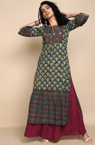 ruffle kurta with slit - forest green & tulips