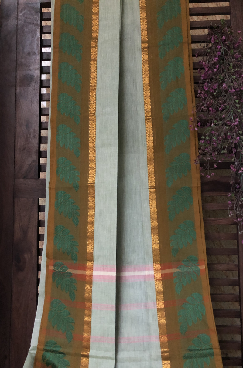 chettinad cotton saree - pearl river & leaf