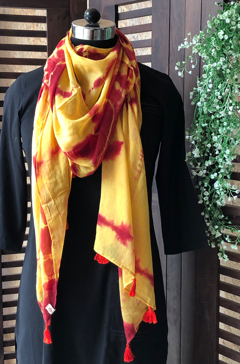 shibori stole - yellow & red