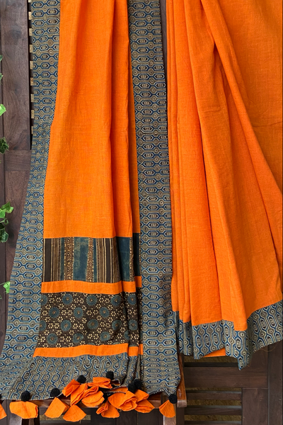 patchwork applique saree - tangerine & vivid hues