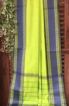 chettinad cotton saree - lime & indigo border