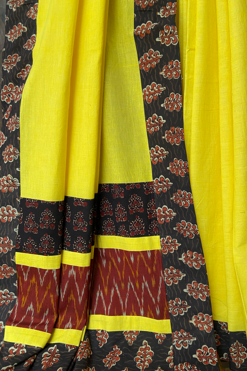 patchwork applique saree - lemon zest & chevron drops