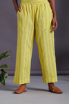 ELASTICATED MANGALGIRI PANTS - lime yellow & brown lines