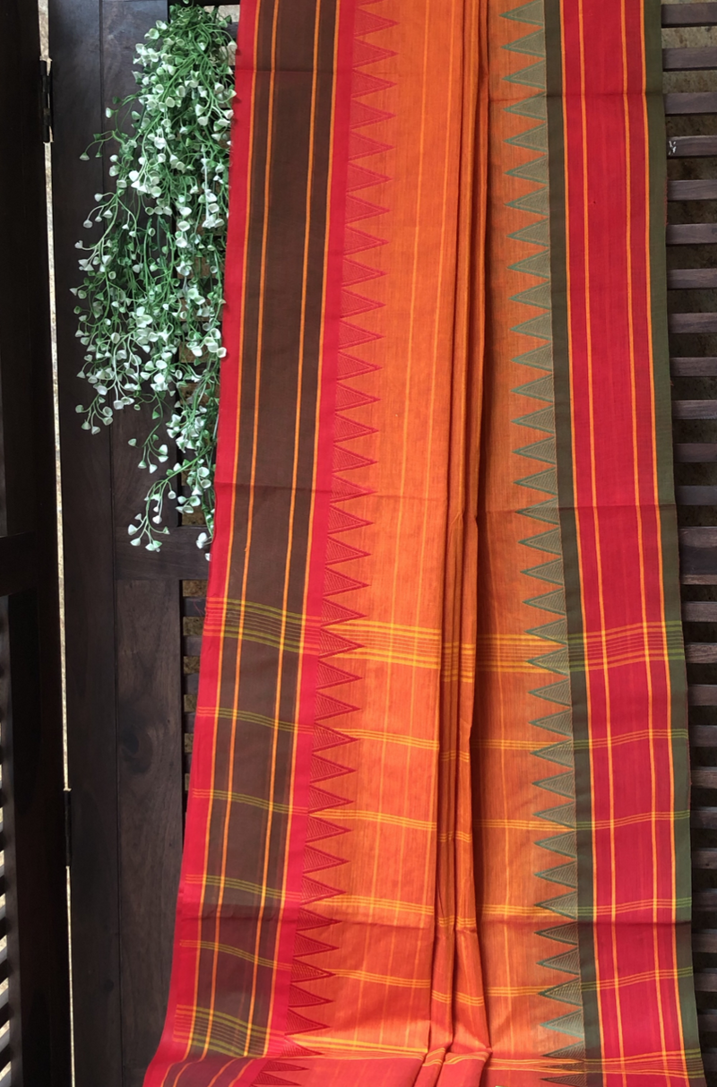 chettinad cotton saree - orange & temple border