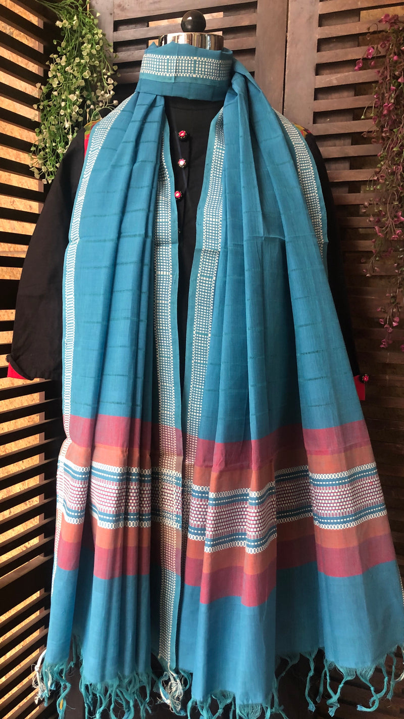 handloom cotton dupatta - blue reef & woven border