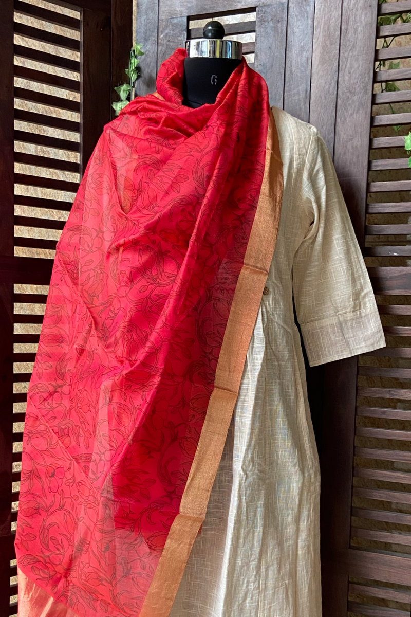 handwoven chanderi dupatta - blush red & garden of roses