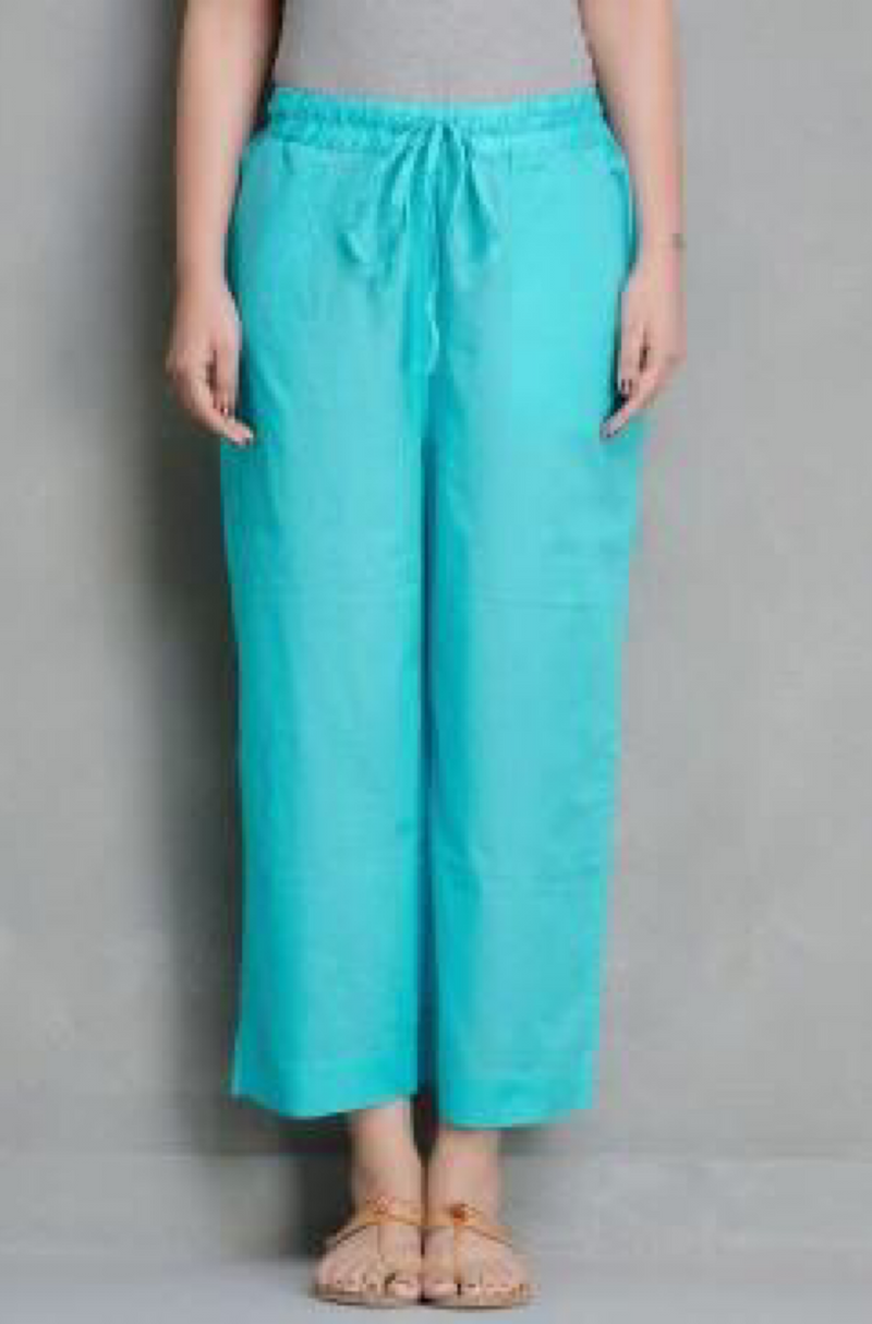 ELASTICATED CAMBRIC PANTS - FIROZI
