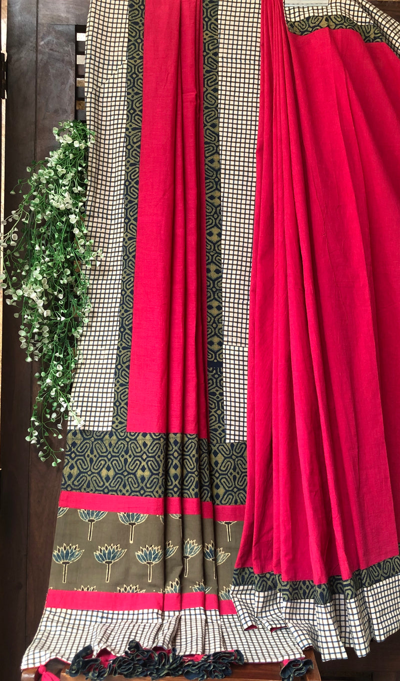 patchwork applique saree - ruby pink & checkers big border