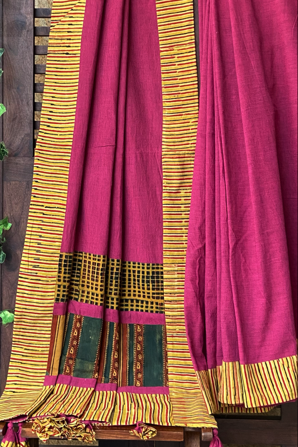 patchwork applique saree - magenta lake & drops of yellow