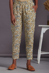 elasticated printed narrow trouser - ivory & jaal