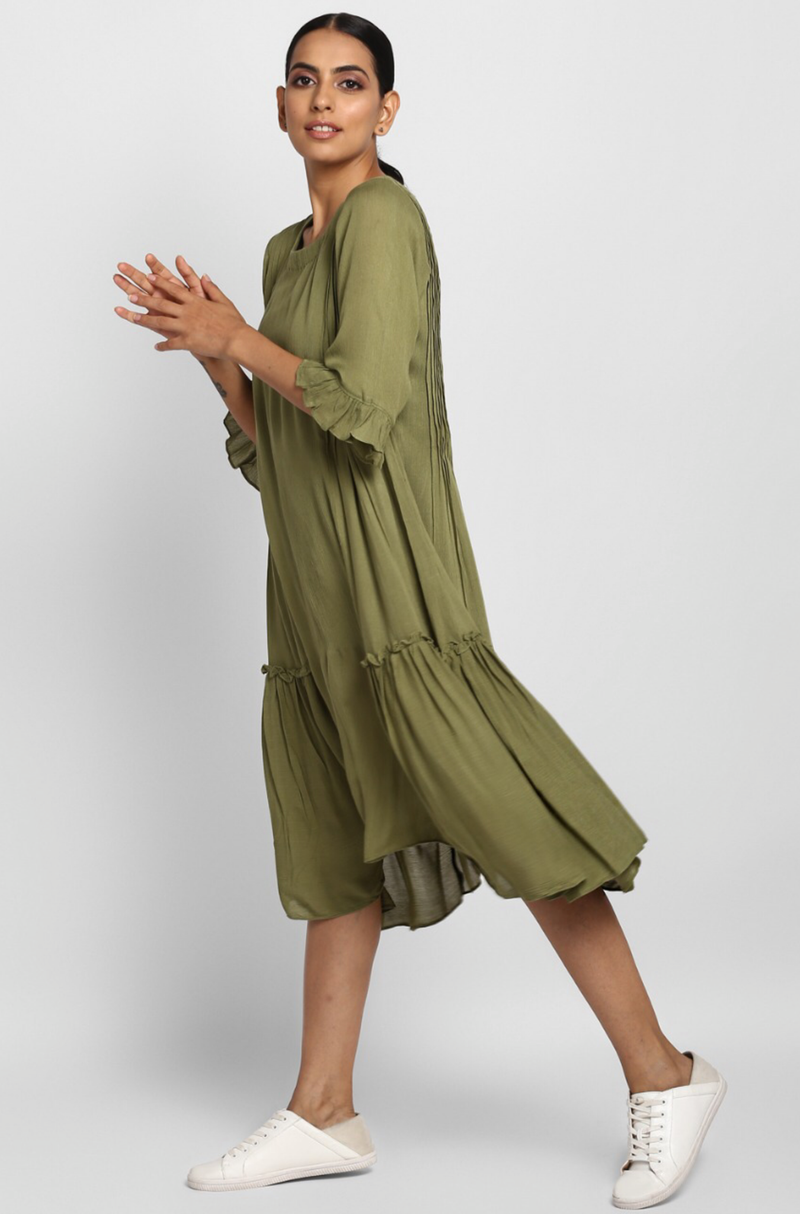 Olive green crush cotton midi dress with side ruffles