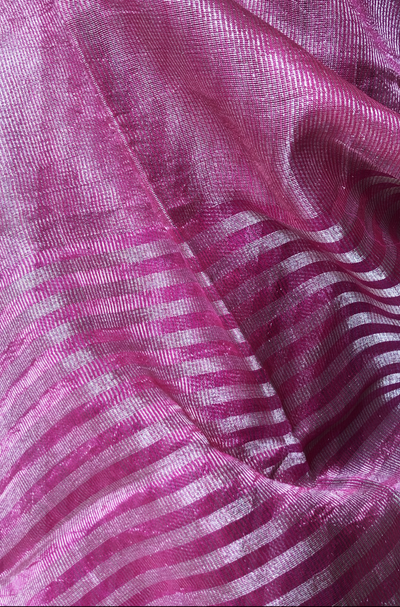 handwoven chanderi dupatta - rani pink & stripes of gold
