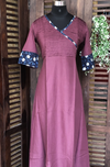 double layered cotton anarkali - wine and ajrakh