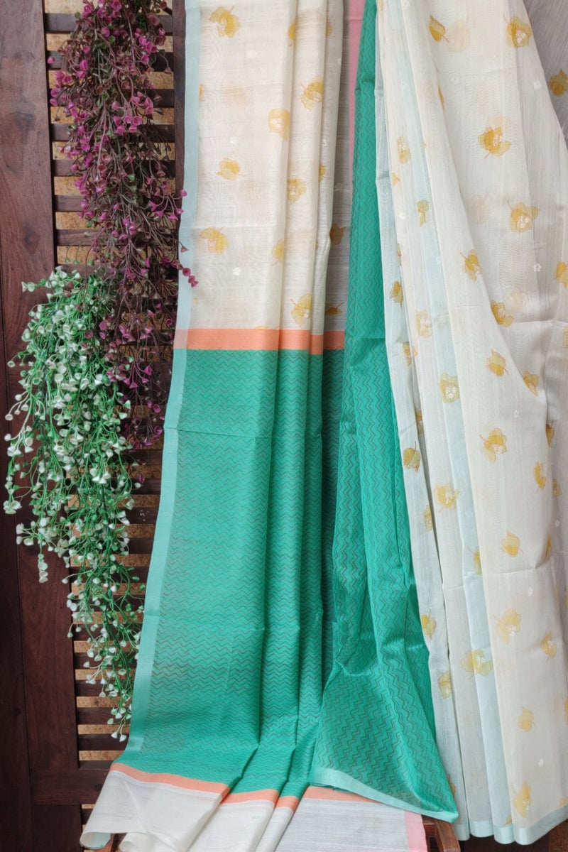 handwoven chanderi saree - porcelain sheer & roses