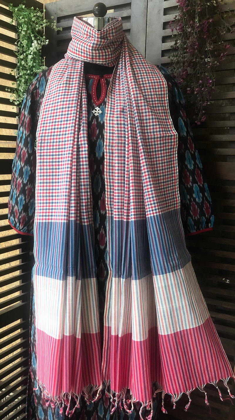 handloom cotton dupatta - indigo love & madder checks